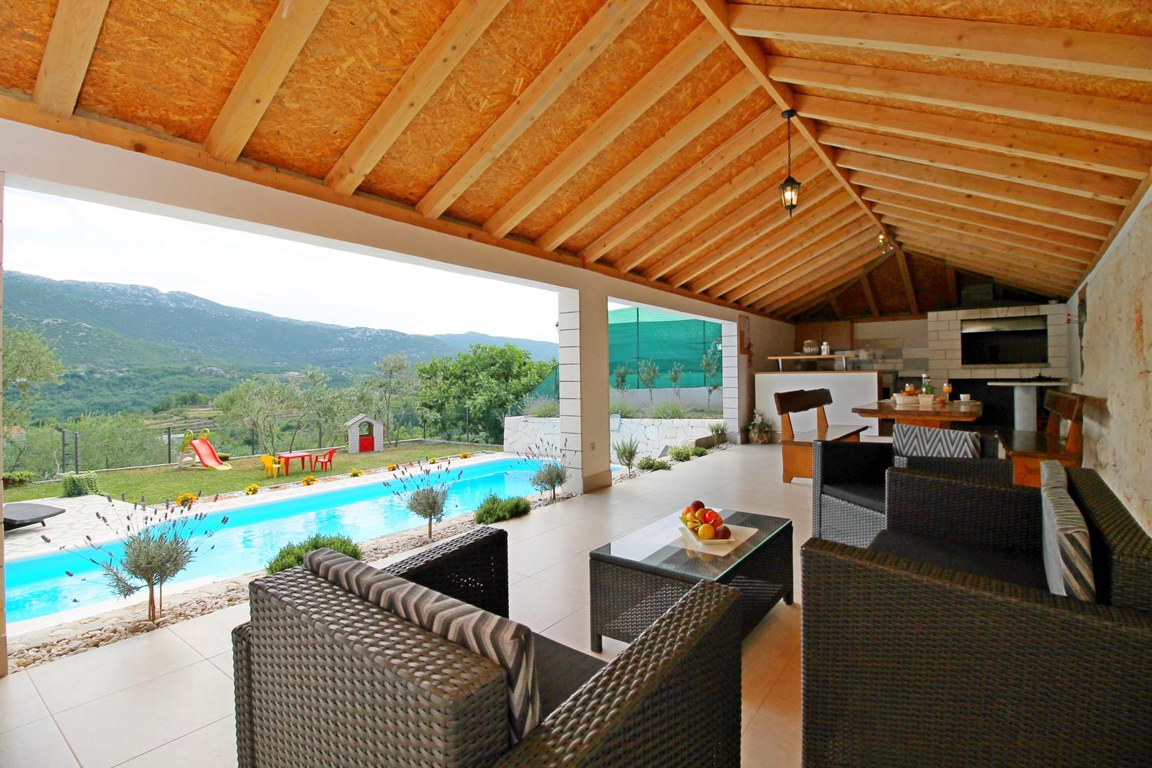Ferienhaus Privater Pool 3,5 x 8,6 m, überdachter Essbereich im Freien, kostenloses WLAN, voll - klim (2663850), Kostanje, , Dalmatien, Kroatien, Bild 6
